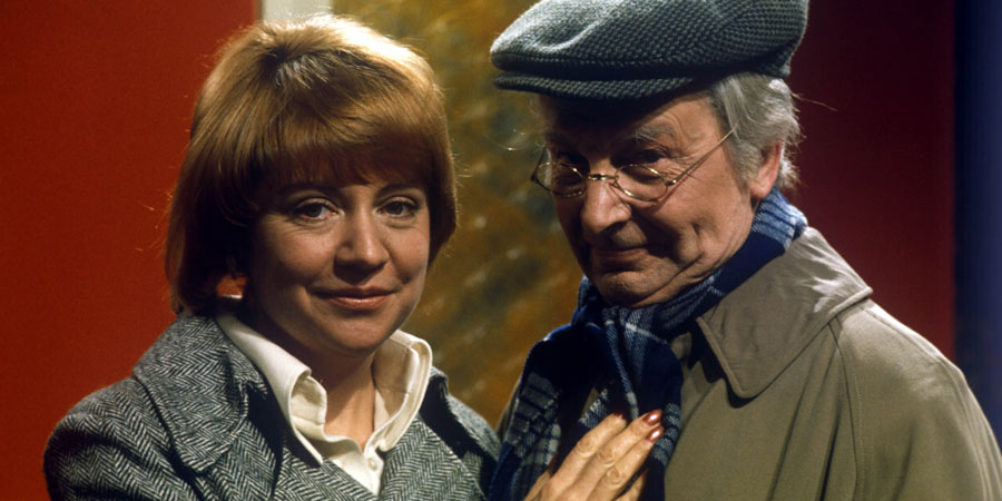 My Old Man. Image shows from L to R: Doris (Priscilla Morgan), Sam Cobbett (Clive Dunn). Copyright: Yorkshire Television.