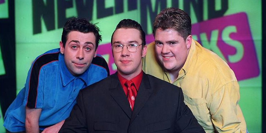 Never Mind The Buzzcocks. Image shows from L to R: Sean Hughes, Mark Lamarr, Phill Jupitus.