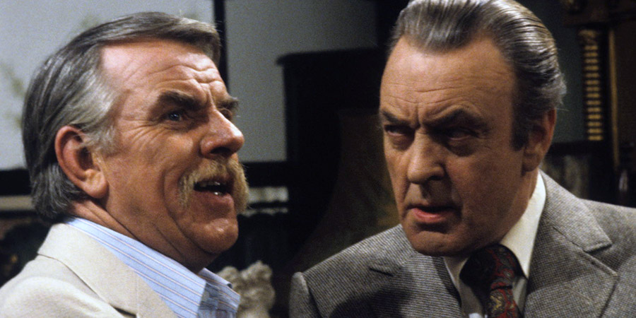 Never The Twain. Image shows from L to R: Oliver Smallbridge (Windsor Davies), Simon Peel (Donald Sinden). Copyright: Thames Television.