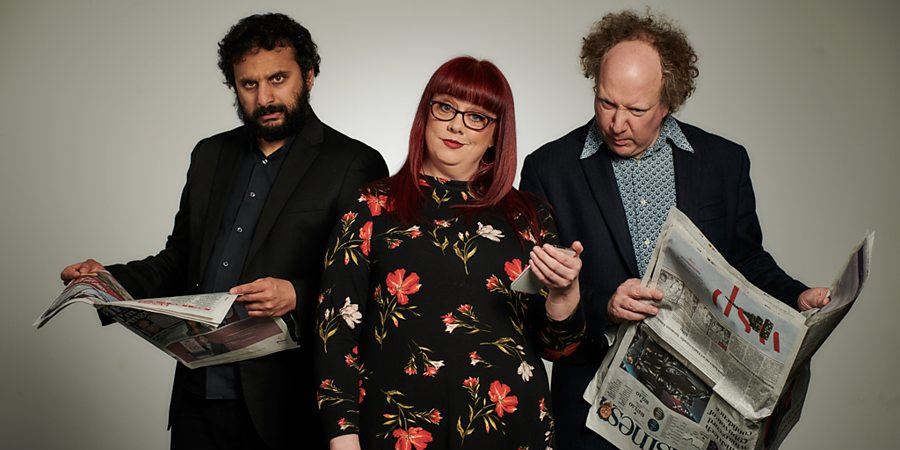The News Quiz. Image shows from L to R: Nish Kumar, Angela Barnes, Andy Zaltzman.