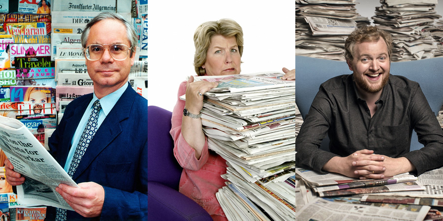 The News Quiz. Image shows from L to R: Simon Hoggart, Sandi Toksvig, Miles Jupp. Copyright: BBC.