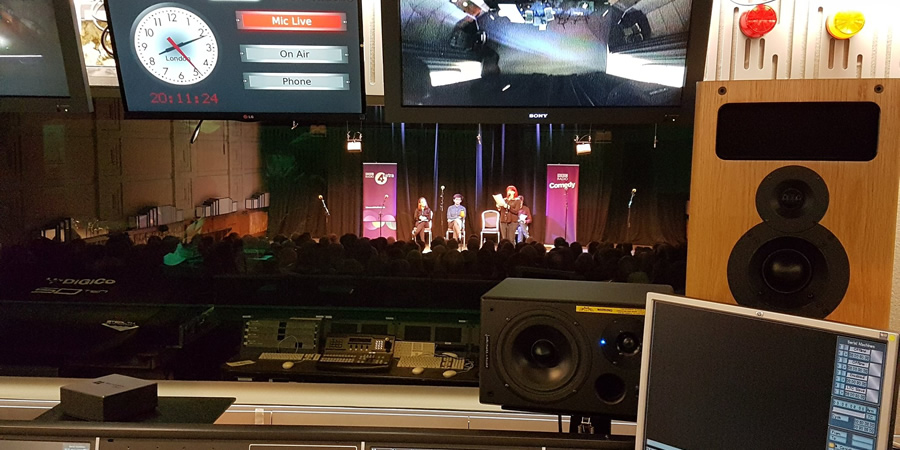 A picture taken from the control room at the BBC Radio Theatre as Newsjack is recorded on the 13th September. Copyright: BBC.
