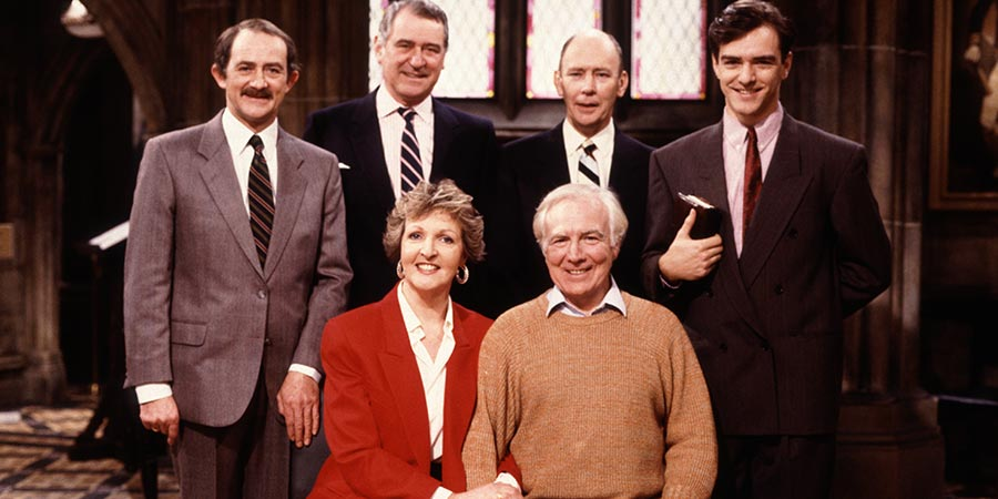 No Job For A Lady. Image shows from L to R: Ken Miller (Paul Young), Sir Godfrey Eagan (George Baker), Jean Price (Penelope Keith), Geoff (Mark Kingston), Norman (Garfield Morgan), Tim (Jonathan Dow). Copyright: Thames Television.