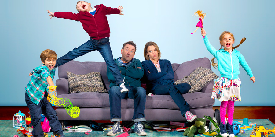 Not Going Out. Image shows from L to R: Benji (Max Pattison), Charlie (Finley Southby), Lee (Lee Mack), Lucy (Sally Bretton), Molly (Francesca Newman). Copyright: BBC.