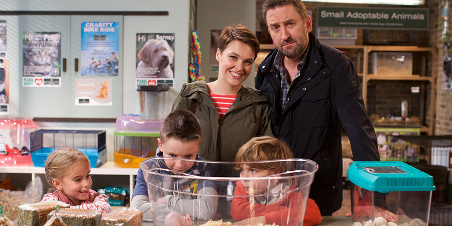 Not Going Out. Image shows from L to R: Molly (Francesca Newman), Charlie (Finley Southby), Lucy (Sally Bretton), Benji (Max Pattison), Lee (Lee Mack). Copyright: Avalon Television.