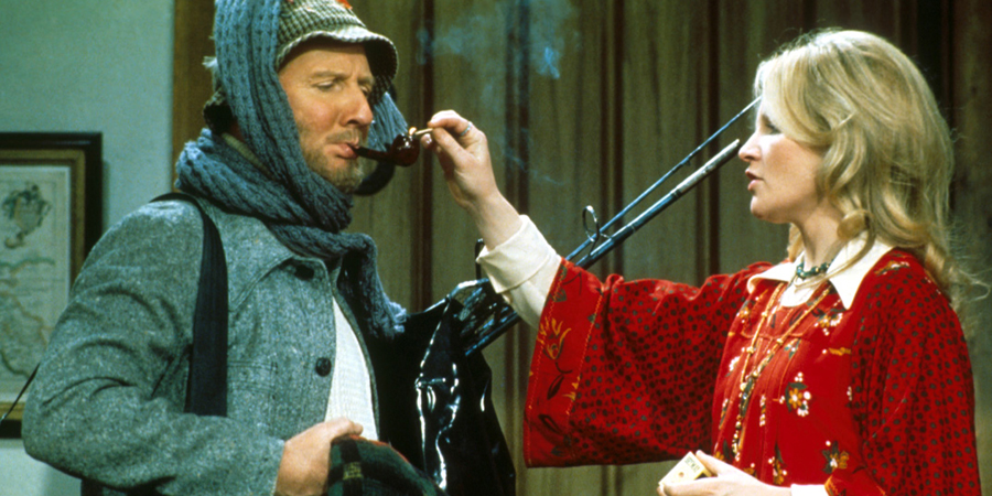 Not Now, Comrade. Image shows from L to R: Commander Rimmington (Leslie Phillips), Nancy Rimmington (Michele Dotrice). Copyright: Not Now Films Limited.