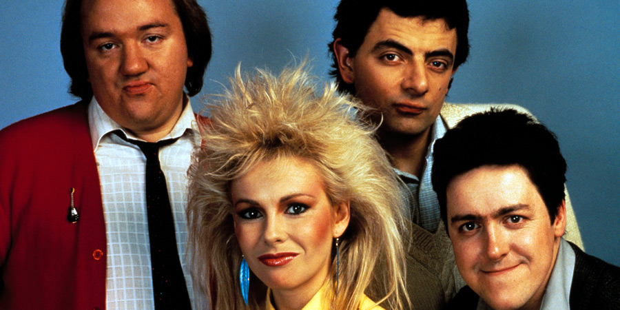 Not The Nine O'Clock News. Image shows from L to R: Mel Smith, Pamela Stephenson, Rowan Atkinson, Griff Rhys Jones.