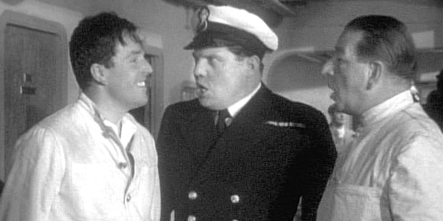Not Wanted On Voyage. Image shows from L to R: Understeward Cecil Hollebone (Brian Rix), Chief Steward (Michael Brennan), Steward Albert Higgins (Ronald Shiner).