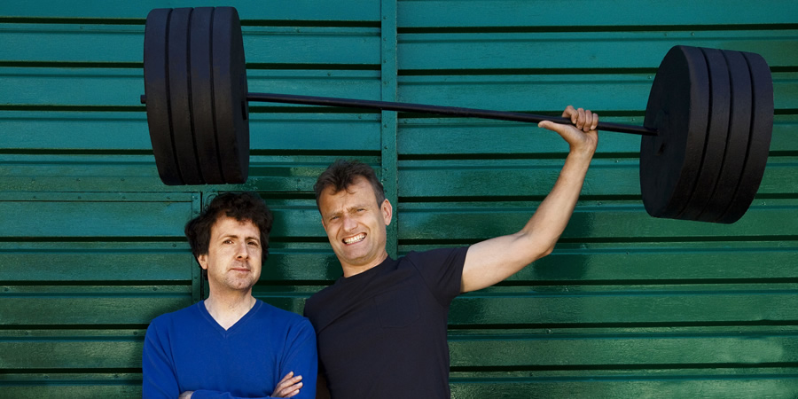 The Now Show. Image shows from L to R: Steve Punt, Hugh Dennis. Copyright: BBC.