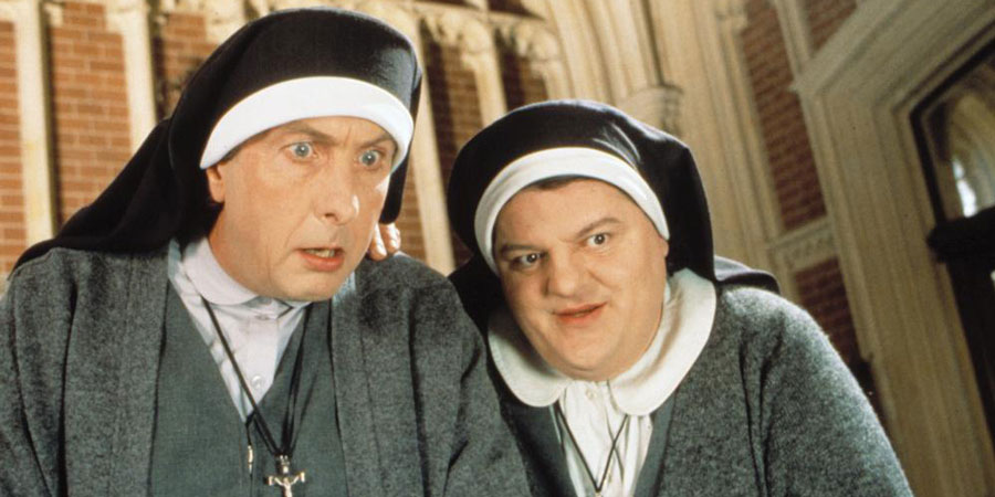 Nuns On The Run. Image shows from L to R: Brian Hope (Eric Idle), Charlie McManus (Robbie Coltrane). Copyright: Hand Made Films.