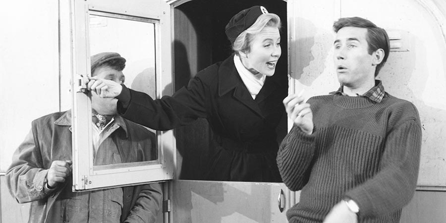 Nurse On Wheels. Image shows from L to R: George Judd (Norman Rossington), Nurse Joanna Jones (Juliet Mills), Tim Taylor (Jim Dale). Copyright: Peter Rogers Productions.