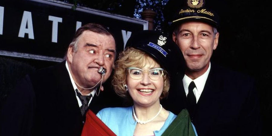 Oh Doctor Beeching!. Image shows from L to R: Jack Skinner (Paul Shane), Ethel Schumann (Su Pollard), Cecil Parkin (Jeffrey Holland). Copyright: BBC.