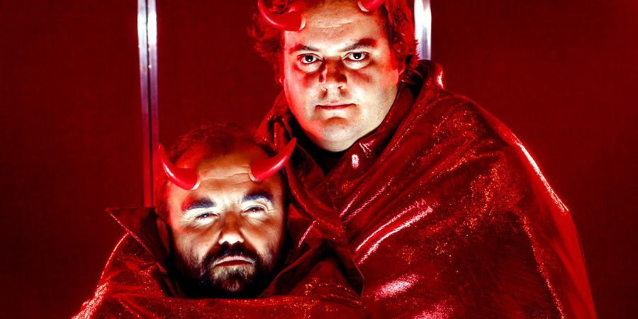 Old Harry's Game. Image shows from L to R: Satan (Andy Hamilton), Gary (Steven O'Donnell). Copyright: BBC.