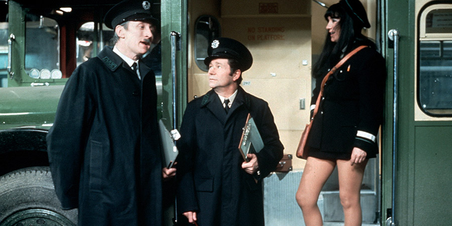 On The Buses. Image shows from L to R: Inspector Blake (Stephen Lewis), Stan Butler (Reg Varney), Iris (Gwendolyn Watts). Copyright: London Weekend Television.