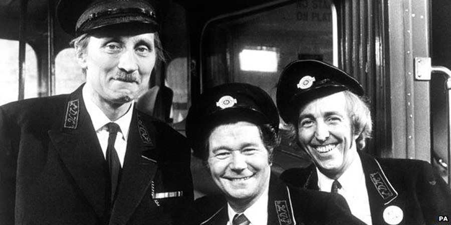 On The Buses. Image shows from L to R: Inspector Blake (Stephen Lewis), Stan Butler (Reg Varney), Jack Harper (Bob Grant). Copyright: London Weekend Television.