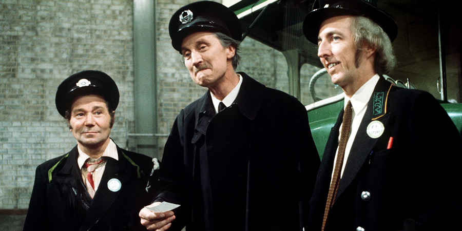 On The Buses. Image shows from L to R: Stan Butler (Reg Varney), Inspector Blake (Stephen Lewis), Jack Harper (Bob Grant). Copyright: London Weekend Television.
