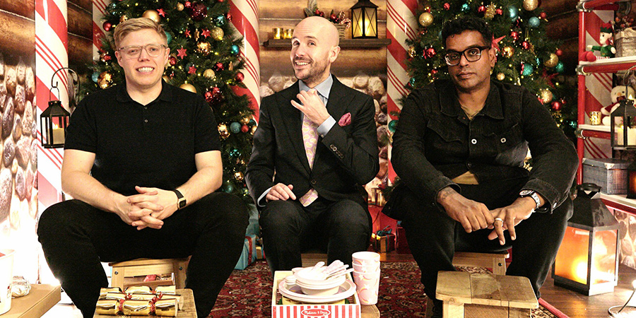 One Night In... Hamleys. Image shows from L to R: Rob Beckett, Tom Allen, Romesh Ranganathan. Copyright: Zeppotron.