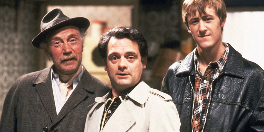 Only Fools And Horses. Image shows from L to R: Grandad (Lennard Pearce), Del (David Jason), Rodney (Nicholas Lyndhurst). Copyright: BBC.