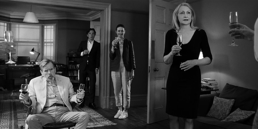 The Party. Image shows from L to R: Bill (Timothy Spall), Tom (Cillian Murphy), Jinny (Emily Mortimer), April (Patricia Clarkson).