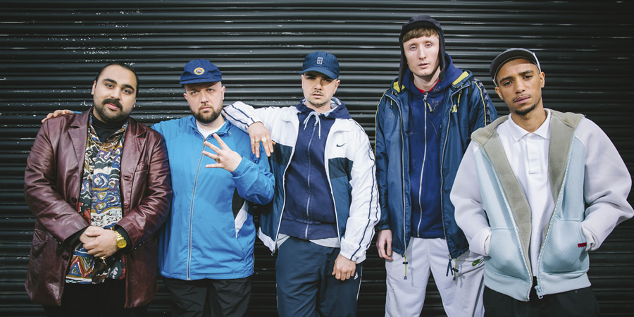 People Just Do Nothing. Image shows from L to R: Chabuddy G (Asim Chaudhry), Beats (Hugo Chegwin), Grindah (Allan Mustafa), Steves (Steve Stamp), Decoy (Daniel Sylvester Woolford). Copyright: Roughcut Television.