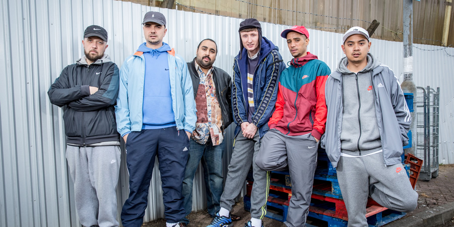 People Just Do Nothing. Image shows from L to R: Beats (Hugo Chegwin), Grindah (Allan Mustafa), Chabuddy G (Asim Chaudhry), Steves (Steve Stamp), Decoy (Daniel Sylvester Woolford), Fantasy (Marvin Jay Alvarez). Copyright: Roughcut Television.