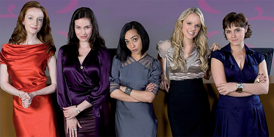 Personal Affairs. Image shows from L to R: Grace Darling (Olivia Grant), Nicole Palmerston-Amory (Maimie McCoy), Doris 'Sid' Siddiqi (Ruth Negga), Lucy Baxter (Laura Aikman), Michelle 'Midge' Lerner (Annabel Scholey). Copyright: 2am TV.
