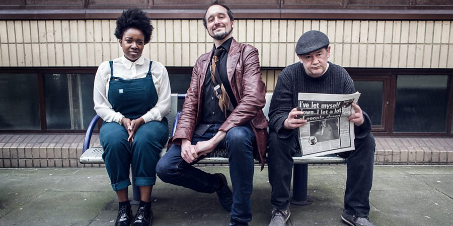 Phil Ellis Is Trying. Image shows from L to R: Lolly (Lolly Adefope), Phil (Phil Ellis), Johnny (Johnny Vegas). Copyright: BBC.