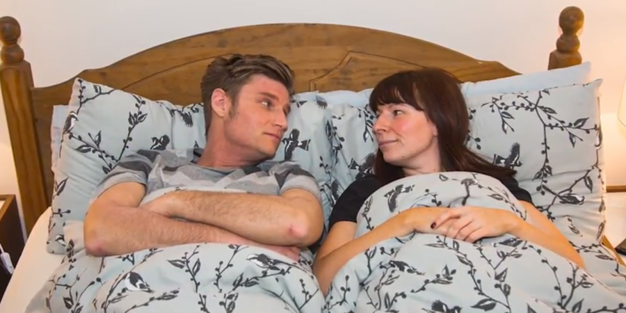 Pillow Talk. Image shows from L to R: Nathan (Scott Bennett), Sarah (Jemma Bennett).