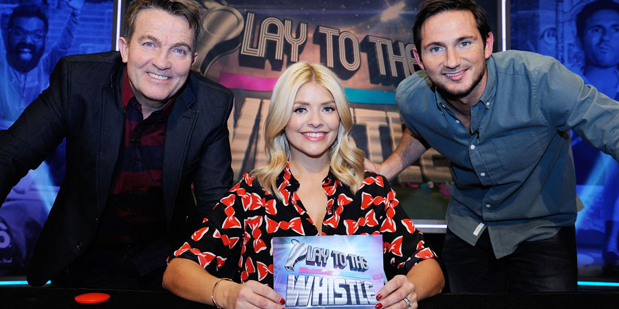 Play To The Whistle. Image shows from L to R: Bradley Walsh, Holly Willoughby, Frank Lampard. Copyright: Hungry Bear Media.