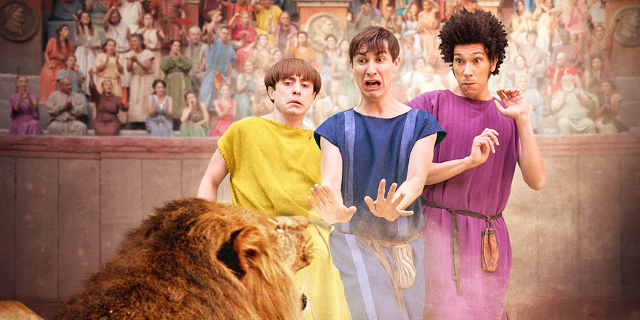 Plebs. Image shows from L to R: Grumio (Ryan Sampson), Marcus (Tom Rosenthal), Stylax (Joel Fry). Copyright: RISE Films.