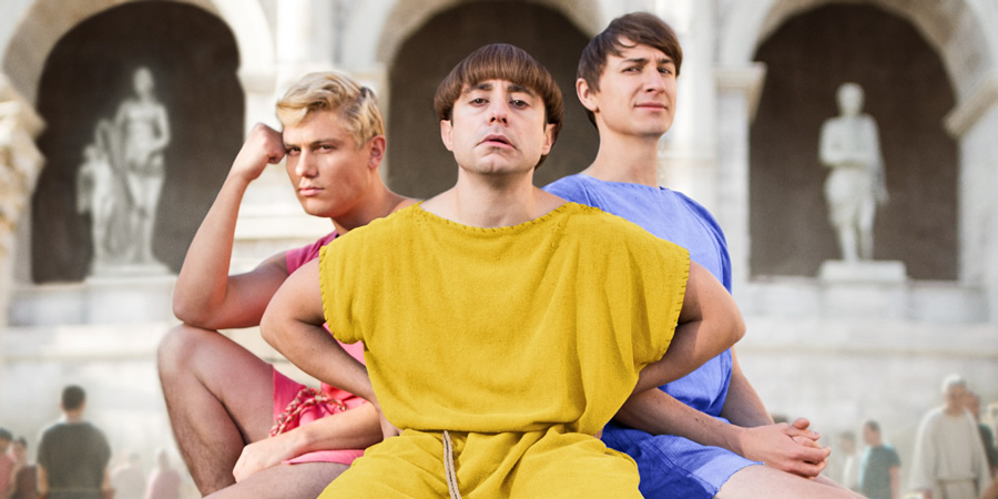 Plebs. Image shows from L to R: Jason (Jon Pointing), Grumio (Ryan Sampson), Marcus (Tom Rosenthal). Copyright: RISE Films.