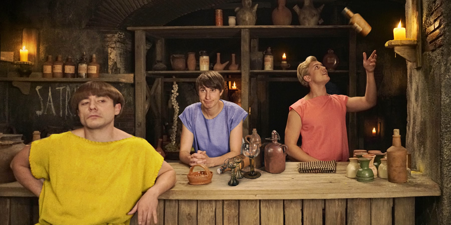 Plebs. Image shows from L to R: Grumio (Ryan Sampson), Marcus (Tom Rosenthal), Jason (Jon Pointing). Copyright: RISE Films.