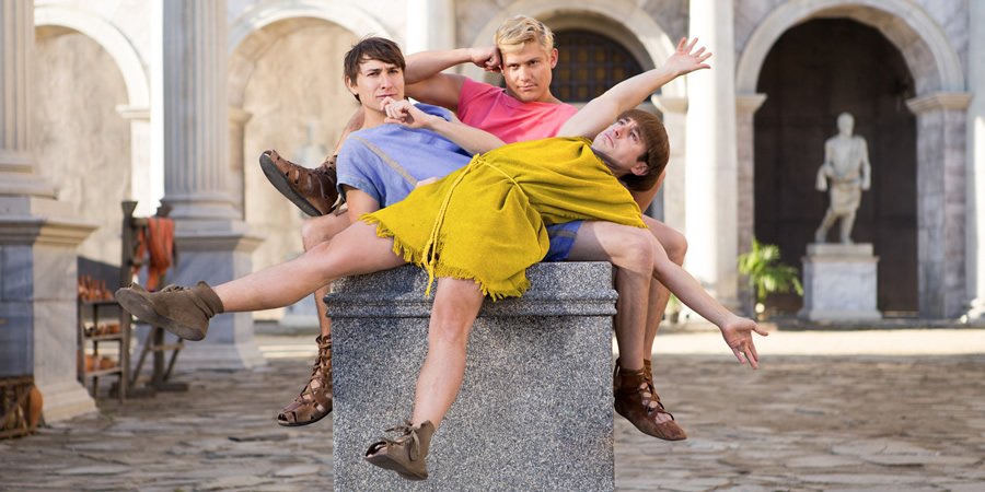 Plebs. Image shows from L to R: Marcus (Tom Rosenthal), Jason (Jon Pointing), Grumio (Ryan Sampson). Copyright: RISE Films.