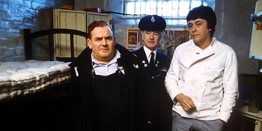 Porridge. Image shows from L to R: Norman Stanley Fletcher (Ronnie Barker), Mackay (Fulton Mackay), Lennie Godber (Richard Beckinsale). Copyright: WitzEnd Productions.