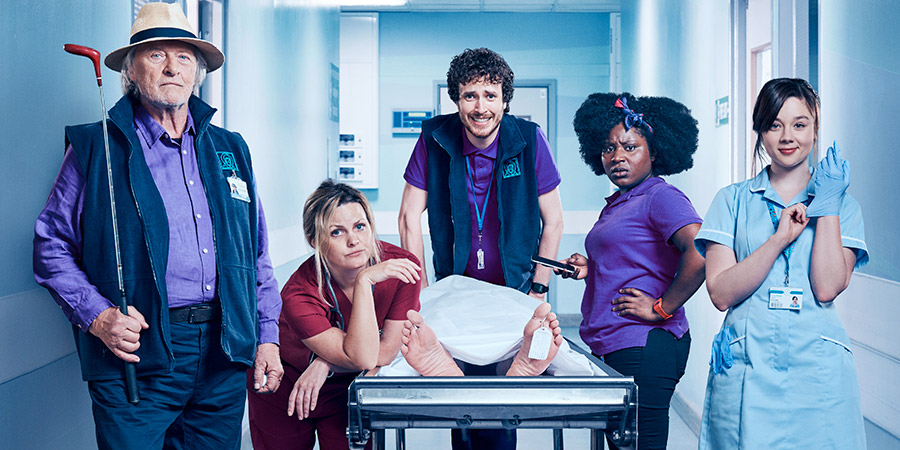 Porters. Image shows from L to R: Tillman (Rutger Hauer), Dr Kelly (Jo Joyner), Simon Porter (Edward Easton), Frankie (Susan Wokoma), Lucy (Claudia Jessie).