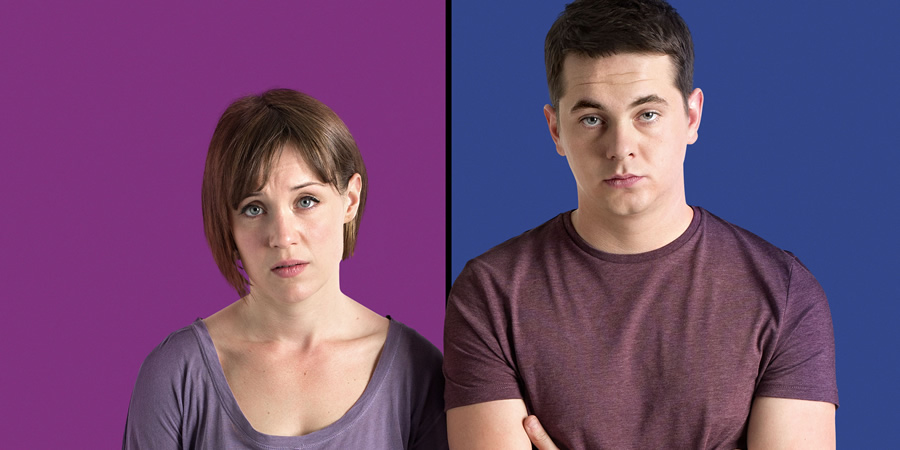 Pramface. Image shows from L to R: Laura Derbyshire (Scarlett Alice Johnson), Jamie Prince (Sean Michael Verey).