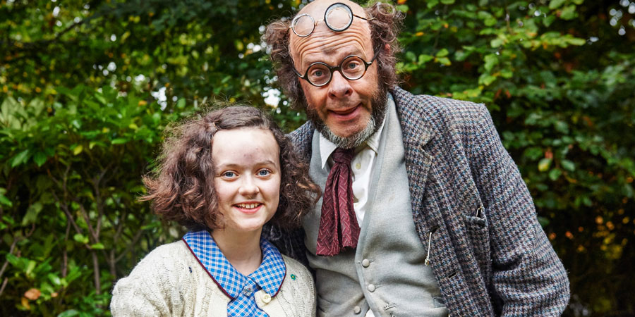 Professor Branestawm. Image shows from L to R: Connie (Madeline Holliday), Professor Branestawm (Harry Hill). Copyright: BBC.