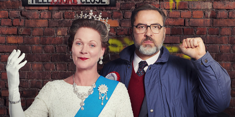The Queen And I. Image shows from L to R: The Queen (Samantha Bond), Jack Barker (David Walliams). Copyright: King Bert Productions.
