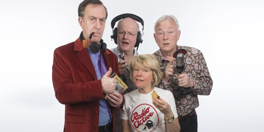 Radio Active. Image shows from L to R: Angus Deayton, Philip Pope, Helen Atkinson-Wood, Michael Fenton Stevens.