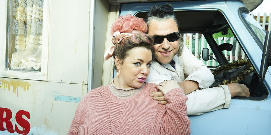 Ratburger. Image shows from L to R: Sheila (Sheridan Smith), Burt (David Walliams). Copyright: King Bert Productions.