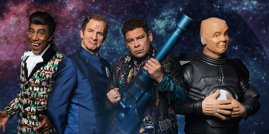 Red Dwarf. Image shows from L to R: Cat (Danny John-Jules), Rimmer (Chris Barrie), Lister (Craig Charles), Kryten (Robert Llewellyn).