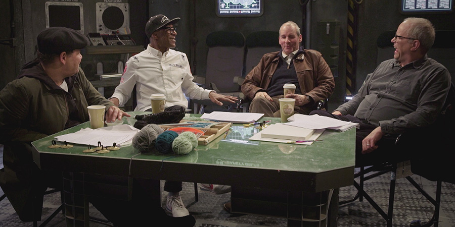 Red Dwarf: The First Three Million Years. Image shows from L to R: Craig Charles, Danny John-Jules, Chris Barrie, Robert Llewellyn. Copyright: North One Television.