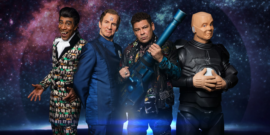 Red Dwarf. Image shows from L to R: Cat (Danny John-Jules), Rimmer (Chris Barrie), Lister (Craig Charles), Kryten (Robert Llewellyn). Copyright: UKTV.