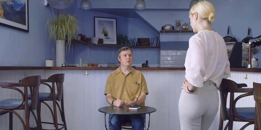 Regular. Image shows from L to R: Regular (Tim Key), Barista (Laura Marling).