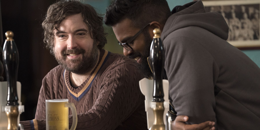 The Reluctant Landlord. Image shows from L to R: Lemon (Nick Helm), Romesh (Romesh Ranganathan). Copyright: What Larks Productions.