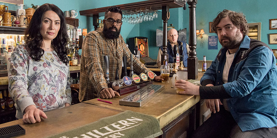 The Reluctant Landlord. Image shows from L to R: Julie (Yasmine Akram), Romesh (Romesh Ranganathan), Lee (Marek Larwood), Lemon (Nick Helm). Copyright: What Larks Productions.