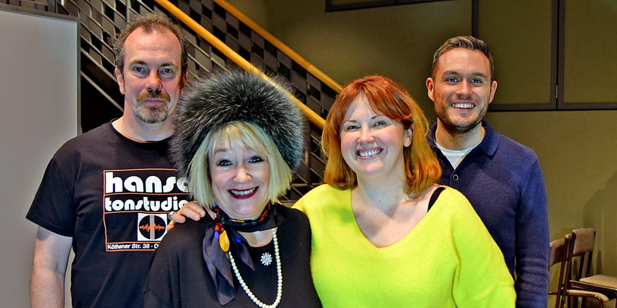 Reply To All. Image shows from L to R: Peter (Gavin Mitchell), Mary (Barbara Rafferty), Liz (Sally Reid), Scott (Jordan Young). Copyright: BBC.