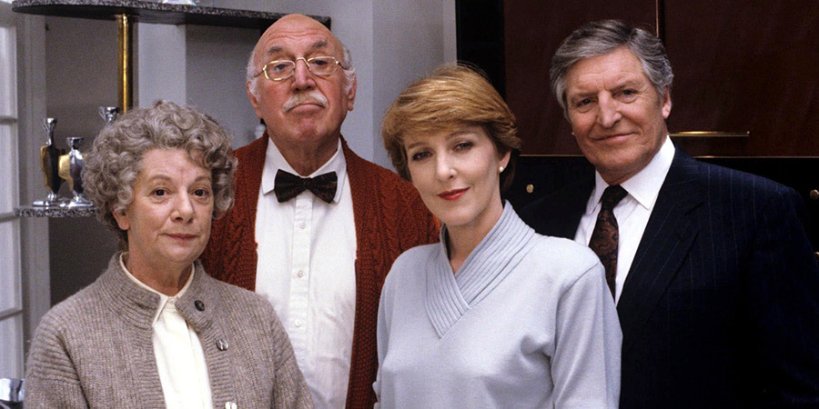 Rich Tea And Sympathy. Image shows from L to R: Granny Trellis (Jean Alexander), Grandpa Rudge (Lionel Jeffries), Julia Merrygrove (Patricia Hodge), George Rudge (Denis Quilley). Copyright: Yorkshire Television.
