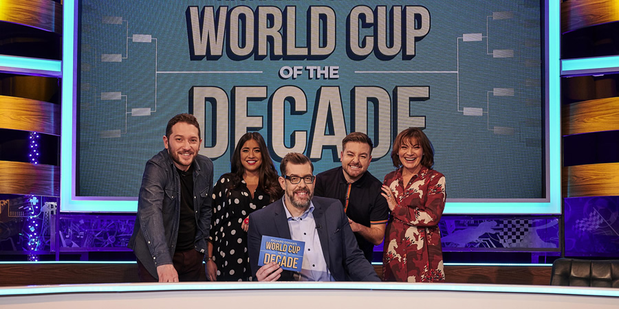 Richard Osman's World Cup Of The Decade. Image shows from L to R: Richard Osman, Rhianna Dhillon, Richard Osman, Alex Brooker, Lorraine Kelly. Copyright: Zeppotron.