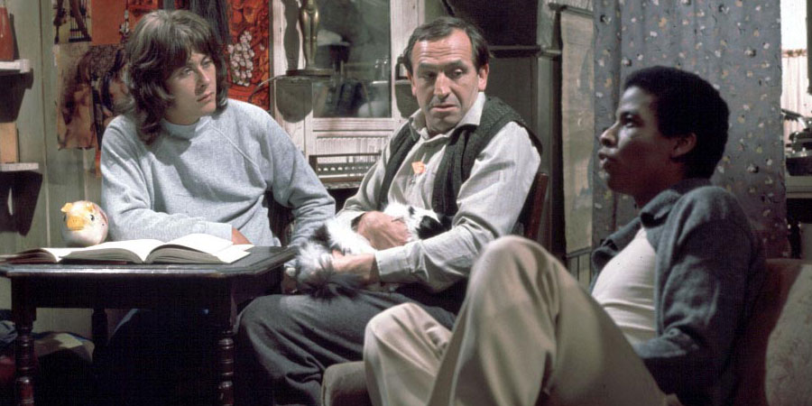 Rising Damp. Image shows from L to R: Alan Moore (Richard Beckinsale), Rupert Rigsby (Leonard Rossiter), Philip Smith (Don Warrington). Copyright: Yorkshire Television.